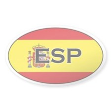 Spanish flag with text Oval Decal