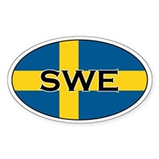 Swedish flag with text Oval Decal
