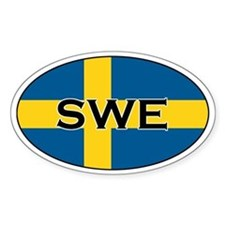 Swedish flag with text Oval Stickers