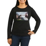 Creation / 2 Dobies Women's Long Sleeve Dark T-Shi