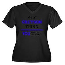 Funny Greyson Women's Plus Size V-Neck Dark T-Shirt