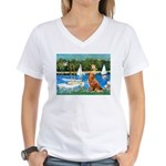 Sailboats / Nova Scotia Women's V-Neck T-Shirt