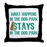 Stays In The Dog Park Throw Pillow