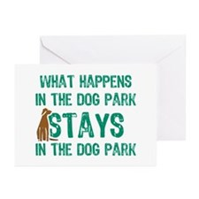 Stays In The Dog Park Greeting Cards (Pk of 10