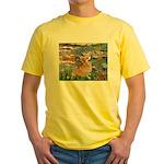 Lilies (2) & Corgi Yellow T-Shirt