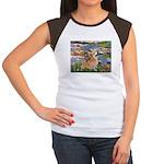 Lilies (2) & Corgi Women's Cap Sleeve T-Shirt