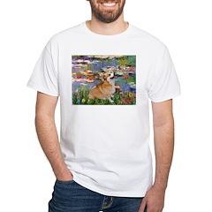 Lilies (2) & Corgi White T-Shirt