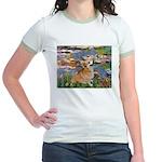 Lilies (2) & Corgi Jr. Ringer T-Shirt