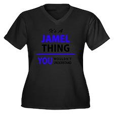 Unique Jamel Women's Plus Size V-Neck Dark T-Shirt
