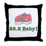 26.2 Baby Marathon Pink Running Shoes Throw Pillow