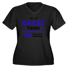 Unique Kailee Women's Plus Size V-Neck Dark T-Shirt