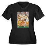 Spring / Corgi Women's Plus Size V-Neck Dark T-Shi
