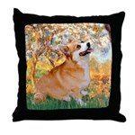 Spring / Corgi Throw Pillow