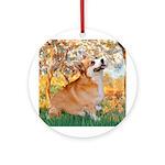 Spring / Corgi Ornament (Round)