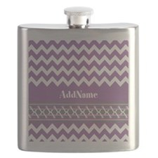 Trendy Purple and Gray Chevron Personalized Flask
