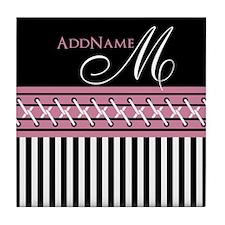Trendy Stripes Personalized Monogram Tile Coaster
