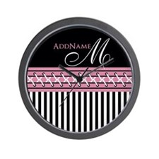 Trendy Stripes Personalized Monogram Wall Clock