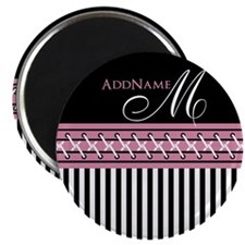 Trendy Stripes Personalized Monogram Magnet