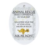 """Animal Rescue"" Oval Ornament"