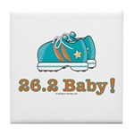 26.2 Baby Marathon Blue Running Shoes Tile Coaster