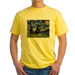 Starry Night Rottweiler Yellow T-Shirt
