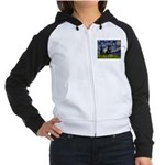 Starry Night Rottweiler Women's Raglan Hoodie