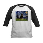 Starry Night Rottweiler Kids Baseball Jersey