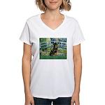 Bridge / Rottie Women's V-Neck T-Shirt