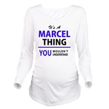 Funny Marcel Long Sleeve Maternity T-Shirt