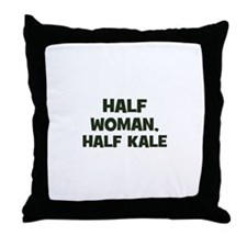 half woman, half kale Throw Pillow