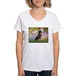 Garden / Rottweiler Women's V-Neck T-Shirt