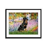 Garden / Rottweiler Framed Panel Print