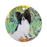 Irises & Papillon Ornament (Round)