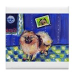 Pomeranian senses smiling moon Tile Coaster