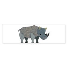 Patchwork Fabric Rhino Bumper Bumper Sticker