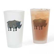 Patchwork Fabric Rhino Drinking Glass