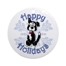 Buzz's Border Collie Snowflake Ornament (Round)