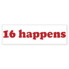 16 happens (red) Bumper Car Sticker