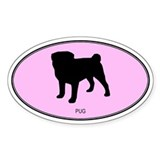 Pug (oval-pink) Oval Decal