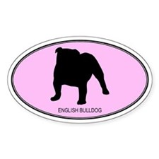 English Bulldog (oval-pink) Oval Decal