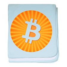 Bitcoin Logo Starburst baby blanket