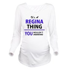 Cute Regina Long Sleeve Maternity T-Shirt