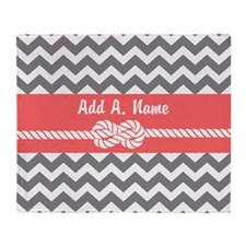 Gray and Coral Modern Chevron Stripe Throw Blanket