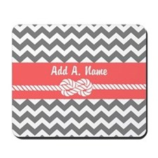 Gray and Coral Modern Chevron Stripes Mousepad