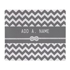 Gray Chevron with Personalized Name Throw Blanket