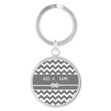 Gray Chevron with Personalized Name Round Keychain