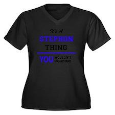 Cute Stephon Women's Plus Size V-Neck Dark T-Shirt