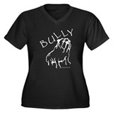 Bully Bulldog Black Women's Plus Size V-Neck Dark