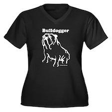 Bulldogger Logo Blue Women's Plus Size V-Neck Dark