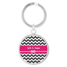 Gray Pink Chevron rope Personalized Round Keychain